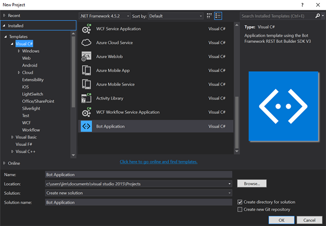 Visual Studio create project